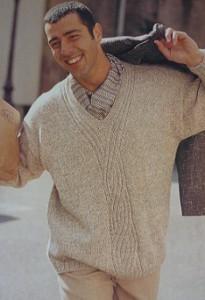 Мужской пуловер спицами. Бизнес-стиль