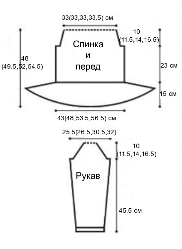женская кофта схема