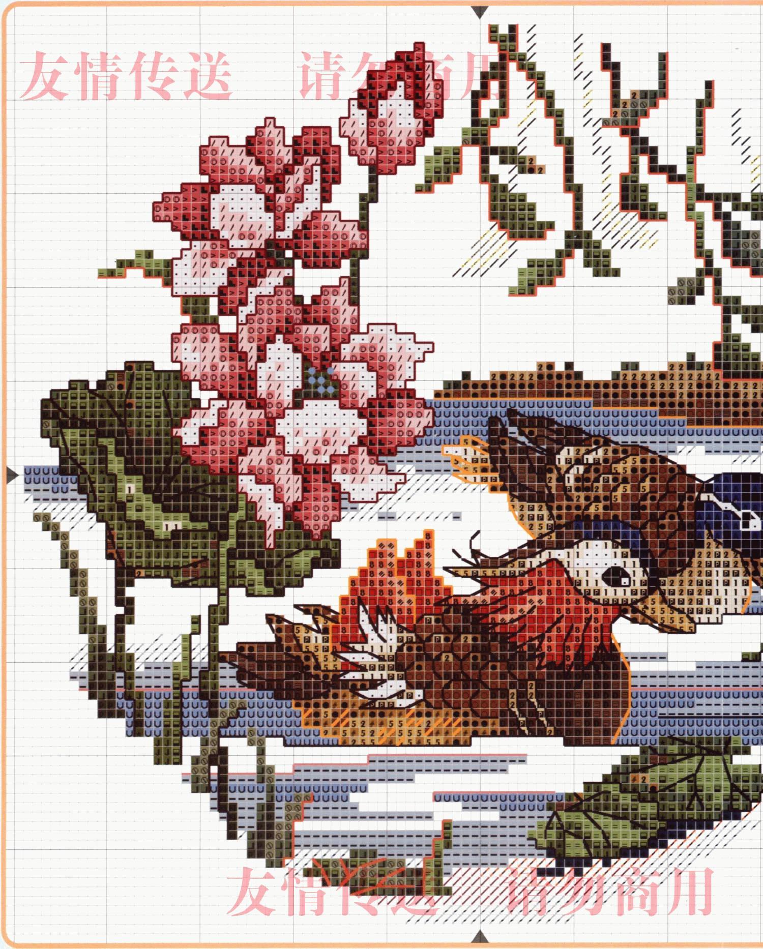 Утка мандаринка схема для вышивки 53