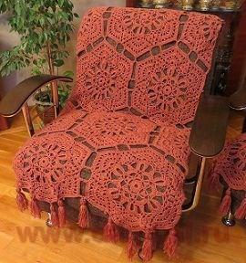 Вязание спицами покрывала для кресел
