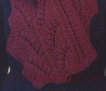 женский ажурный шарф спицами