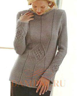 вязаный пуловер спицами для женщин
