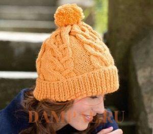 шапка с косами вязаная спицами