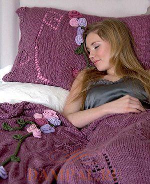 вязаный плед и подушка