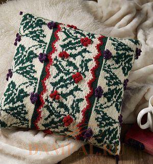 вязаная диванная подушка