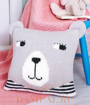Детская вязаная подушка «Bear»