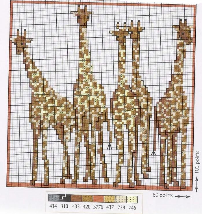 Схема жираф для вышивки крестиком