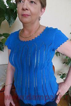 Синяя вязаная блузка