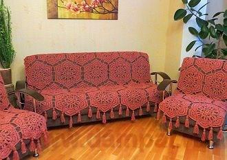 вязаное покрывало на диван Damские Palьчики Ru