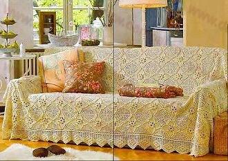 вязаные покрывала крючком на диван