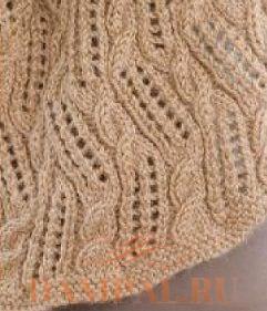 вязаная спицами ажурная шаль