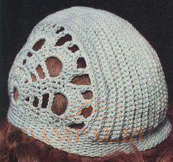 вязаная ажурная шапочка