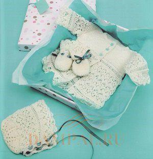вязаный комплект для новорожденного спицами