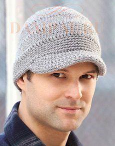 вязаная мужская шапка с козырьком Damские Palьчики Ru