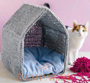вязаный домик для кошки