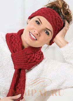 повязка на голову спицами и маленький шарф