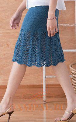 Вязанные спицами летние юбки