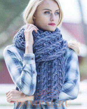 широкий шарф спицами