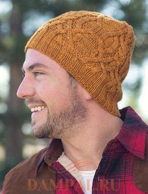 мужская вязаная шапка спицами