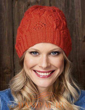 женская вязаная шапка бини