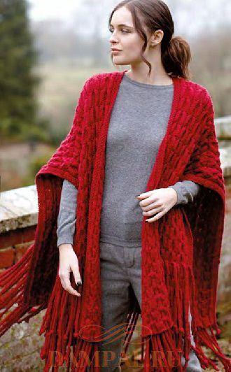 Красная вязаная шаль с бахромой