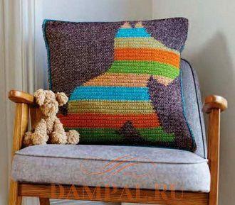 детская вязаная подушка