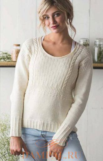 Женский пуловер «Каменная соль» спицами