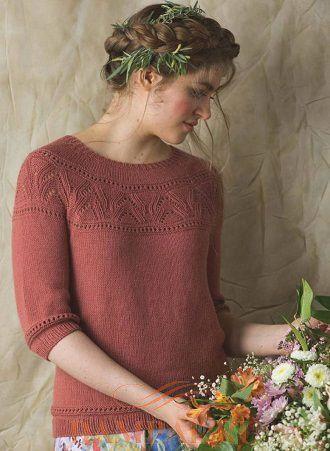 Пуловер с круглой кокеткой «Розовый куст»