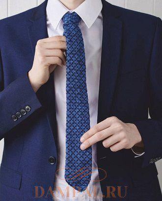 Вязаный жаккардом мужской галстук