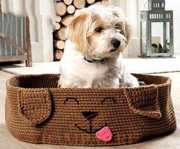 Вязаная кровать для щенка
