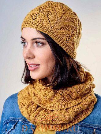 Вязаные шапка и шарф для ранней осени